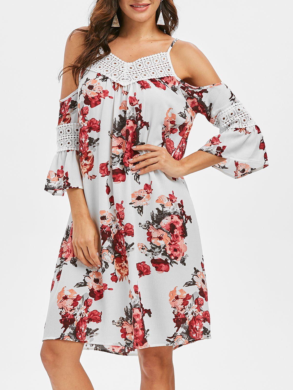 Crochet Flower Cold Shoulder Tunic Dress - multicolor S