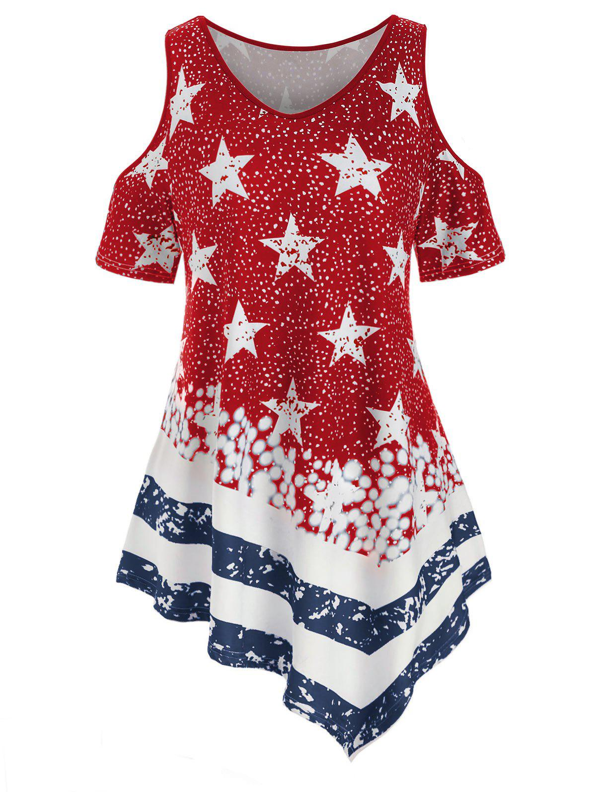 Plus Size Open Shoulder American Flag Print T-shirt - RED WINE 4X