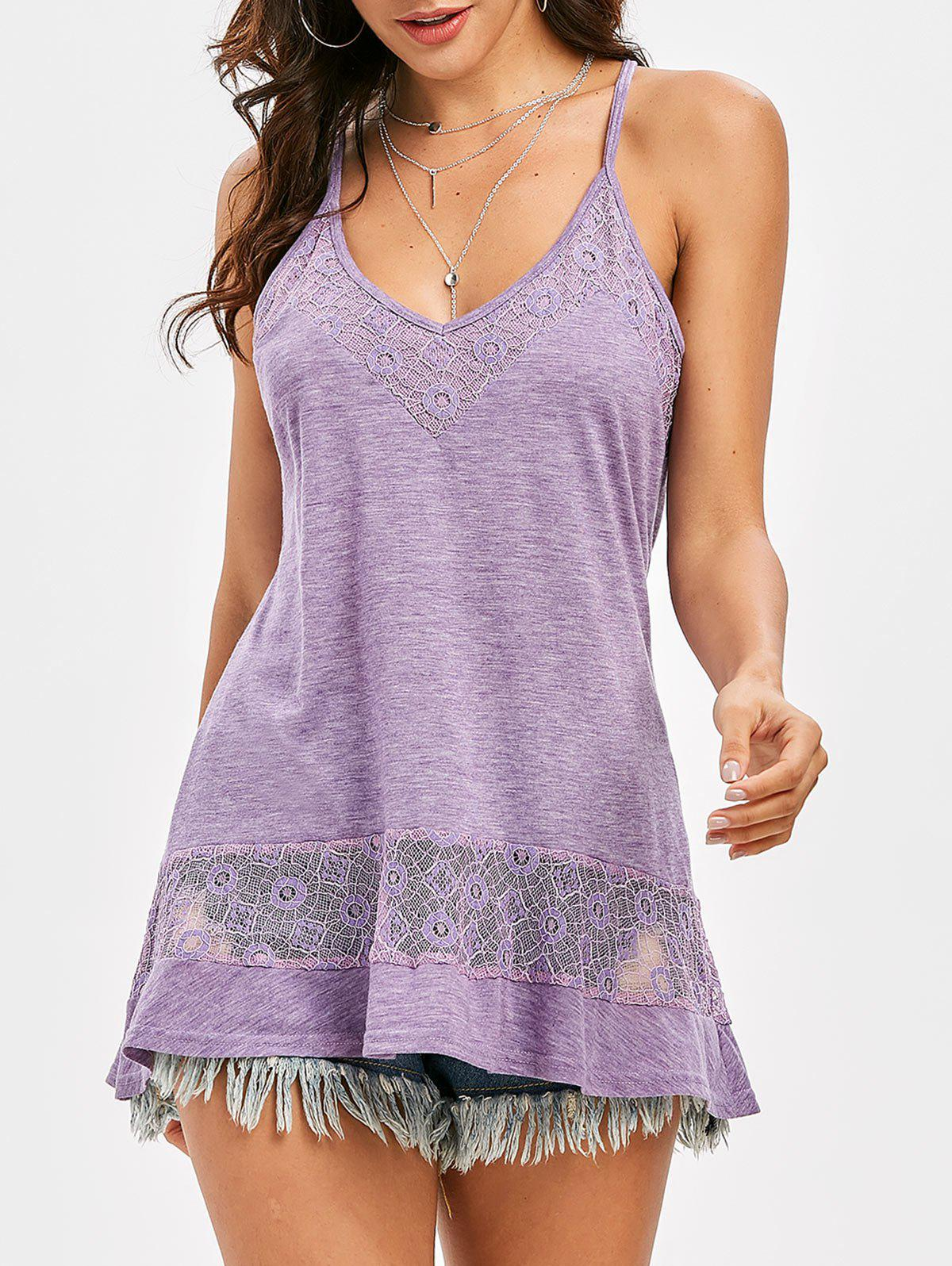 Flower Lace Insert Racerback Heather Camisole - WISTERIA PURPLE XL