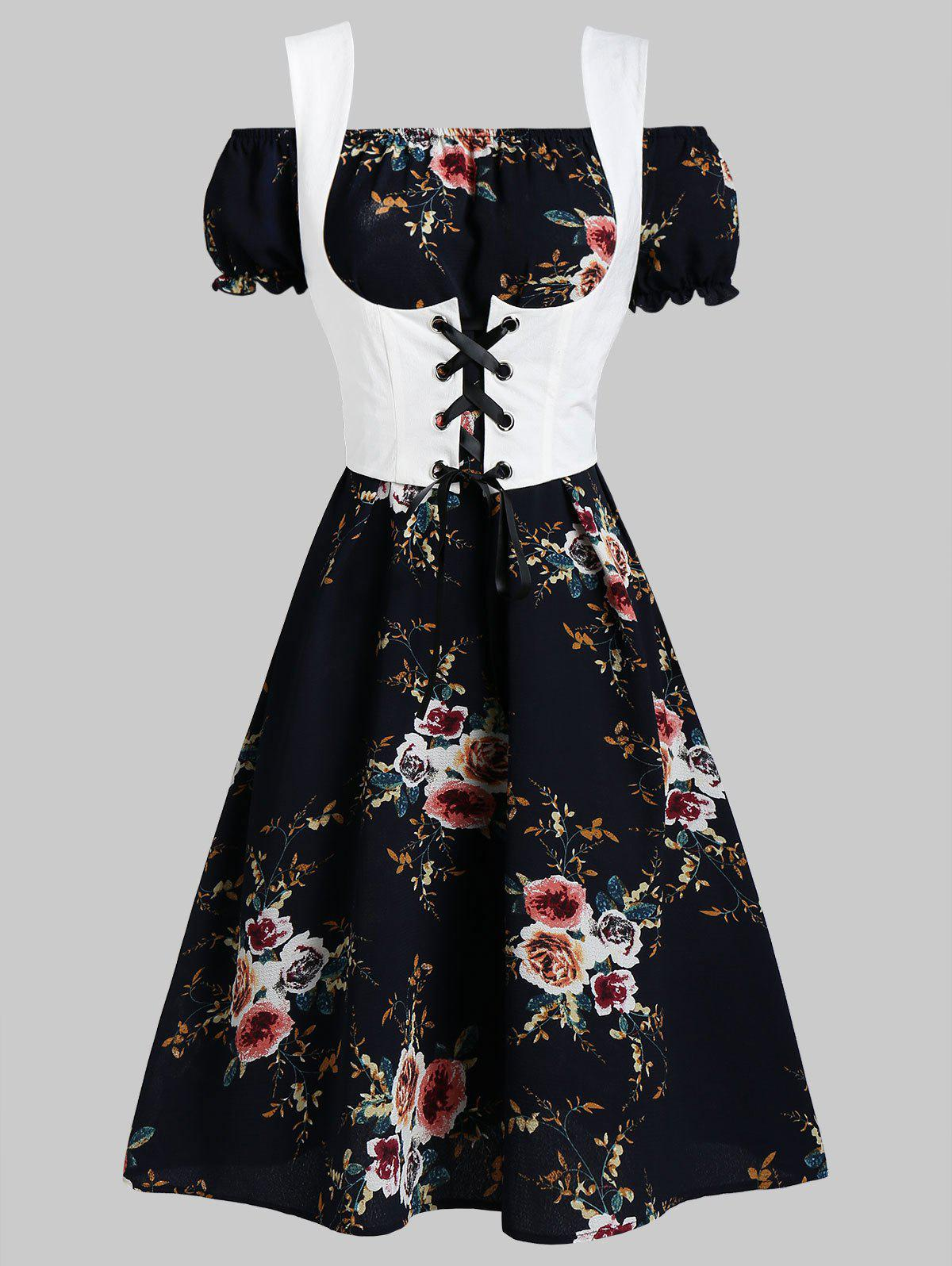 Flower Off Shoulder Dress and Lace-up Waistcoat Set - MIDNIGHT BLUE M