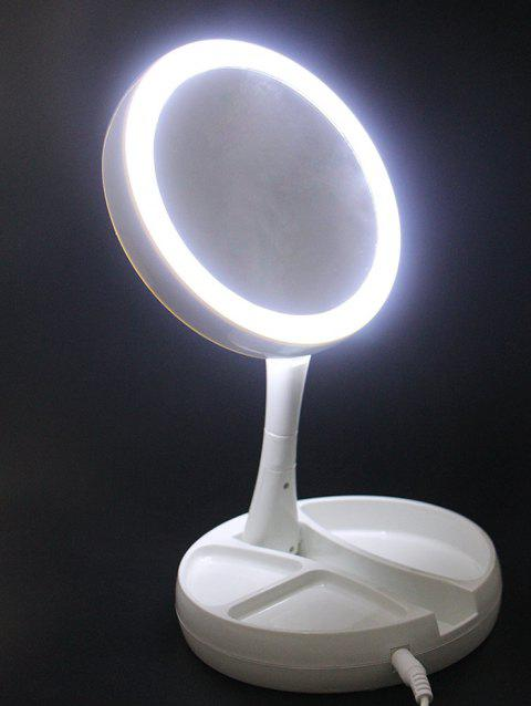 Round LED Light Foldable Makeup Mirror - WHITE