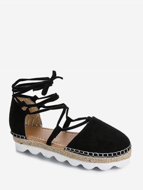 Closed Toe Lace Up Espadrille Sandals - BLACK EU 39