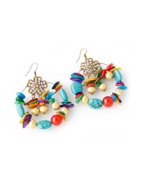 Bohemian Beaded Turquoise Hollow Earrings - multicolor A