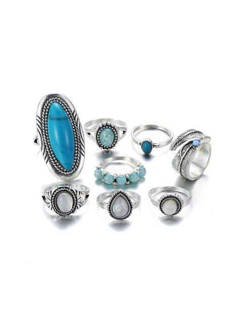 8Pcs Oval Turquoise Faux Opal Ring Set - SILVER