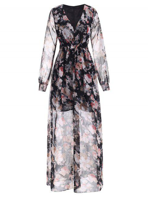 Floral Plunging Long Sleeve Belted Dress - multicolor 3XL