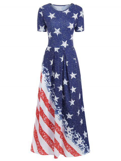 Patriotic American Flag Maxi Dress - multicolor XL