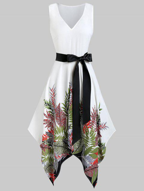 Asymmetrical Plant Print Belted Plunge Handkerchief Dress - WHITE 2XL