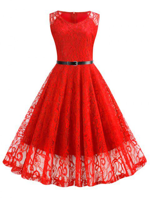 Lace Knee Length Fit and Flare Belted Dress - RED XL