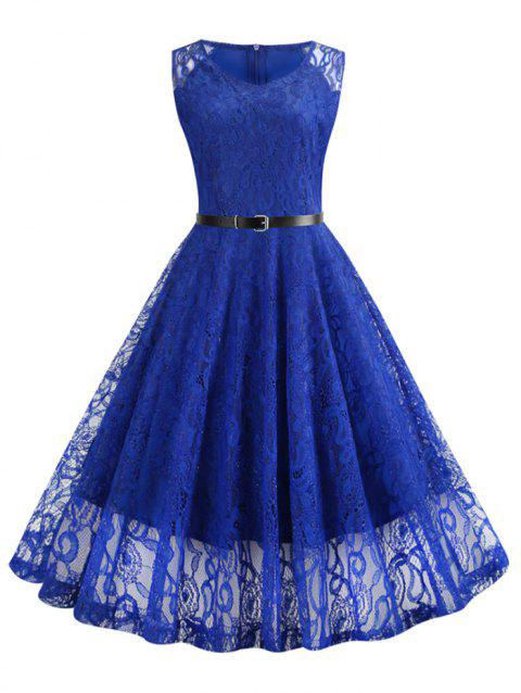 Lace Knee Length Fit and Flare Belted Dress - COBALT BLUE 2XL