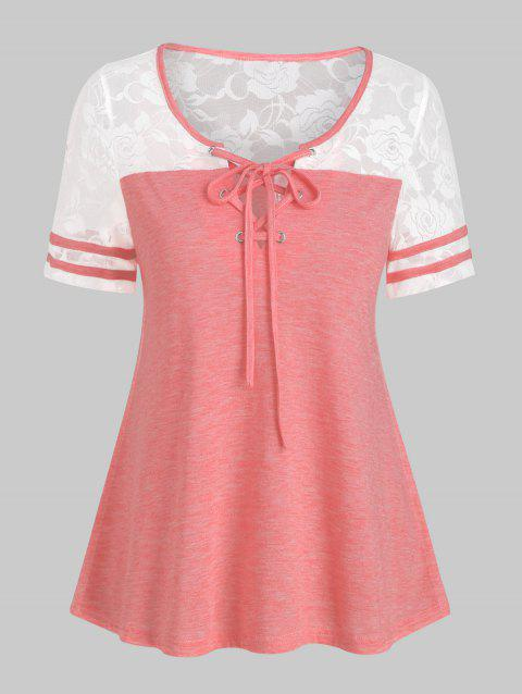 Lace Insert Contrast Sheer T Shirt - LIGHT CORAL 2XL