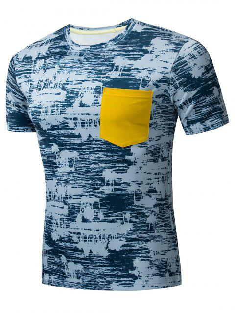 Pocket Decoration Print Short Sleeves T-shirt - BLUE XL