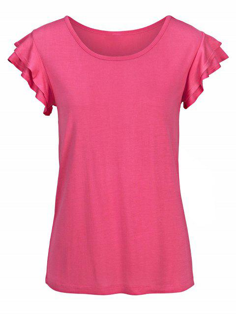 Ruffle Armhole Solid Sleeveless Tee - ROSE RED XL