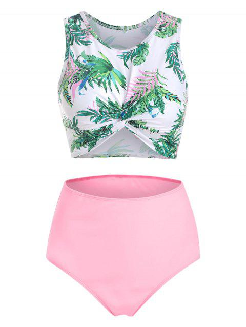 Scoop Neck Leaves Print Twist Front Tankini Swimsuit - LIGHT PINK 3XL