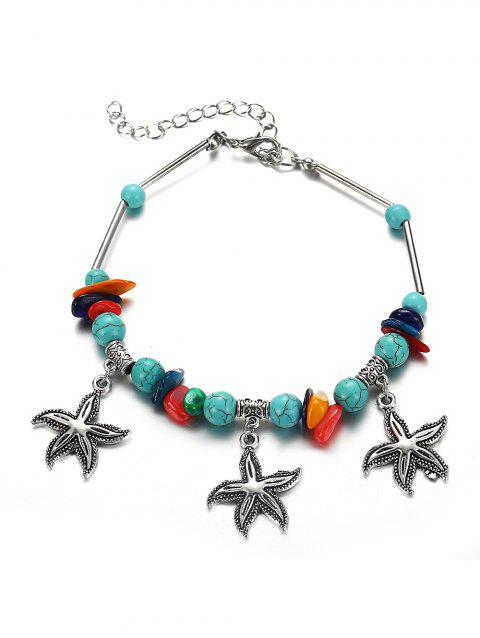 Beaded Starfish Pendant Turquoise Anklet - SILVER
