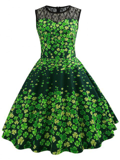 Clover Print Lace Panel Retro Fit and Flare Dress - GREEN APPLE 2XL