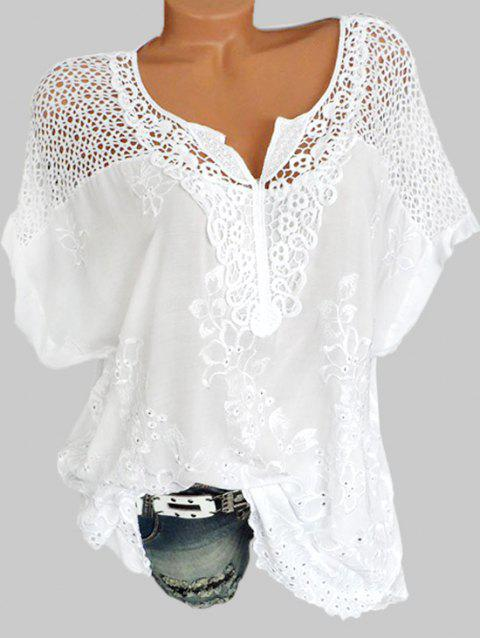Plus Size Lace Crochet Embroidered Blouse - WHITE 2X