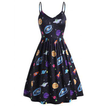Planet Print Side Pocket Plus Size Cami Dress