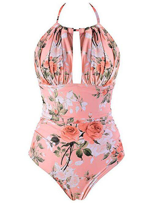 Flower Backless Halter High Rise Swimsuit - DEEP PEACH S