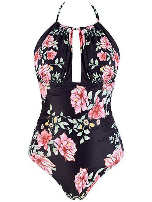 Flower Backless Halter High Rise Swimsuit - PINK 3XL