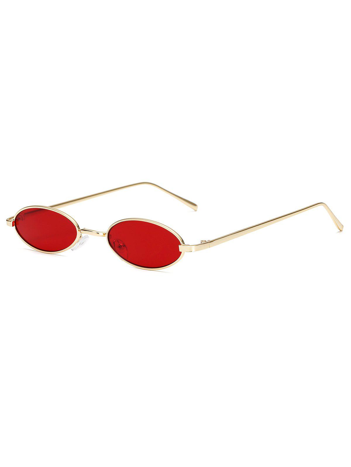 Small Vintage Oval Metal Sunglasses - RED WINE
