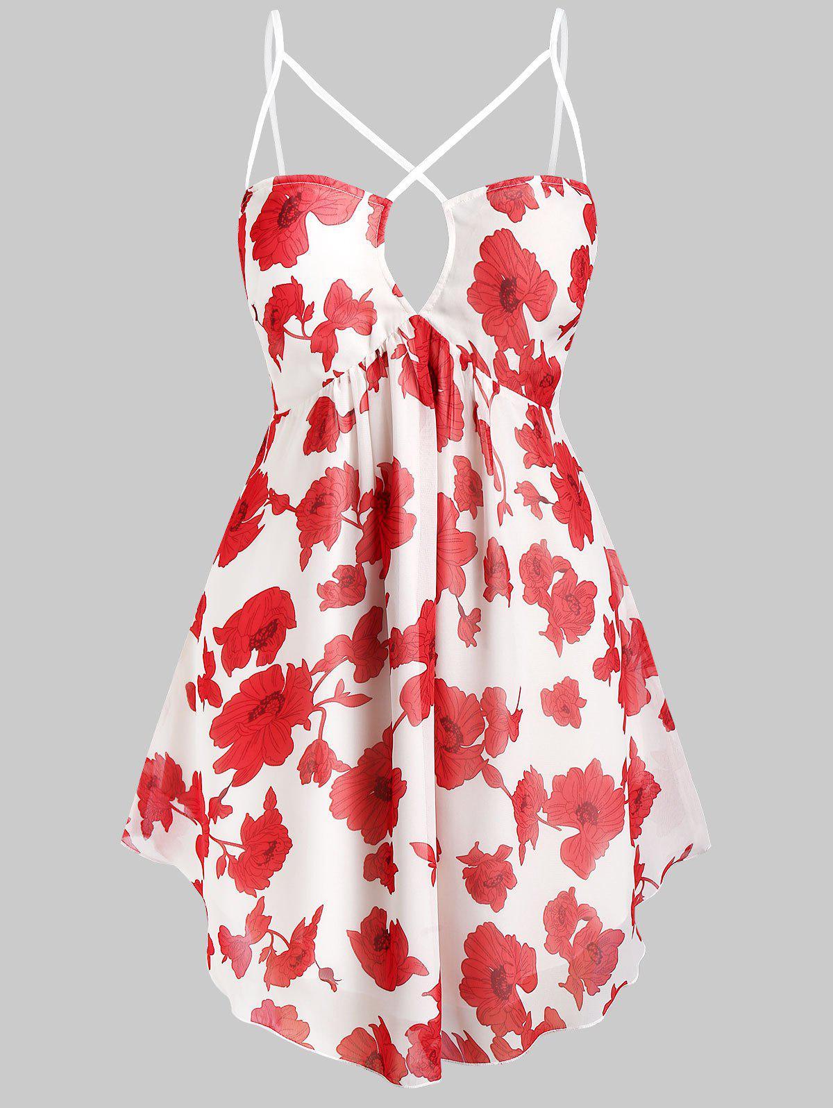 Plus Size Flower Print Strappy Curved Hem Cami Top - WHITE 1X