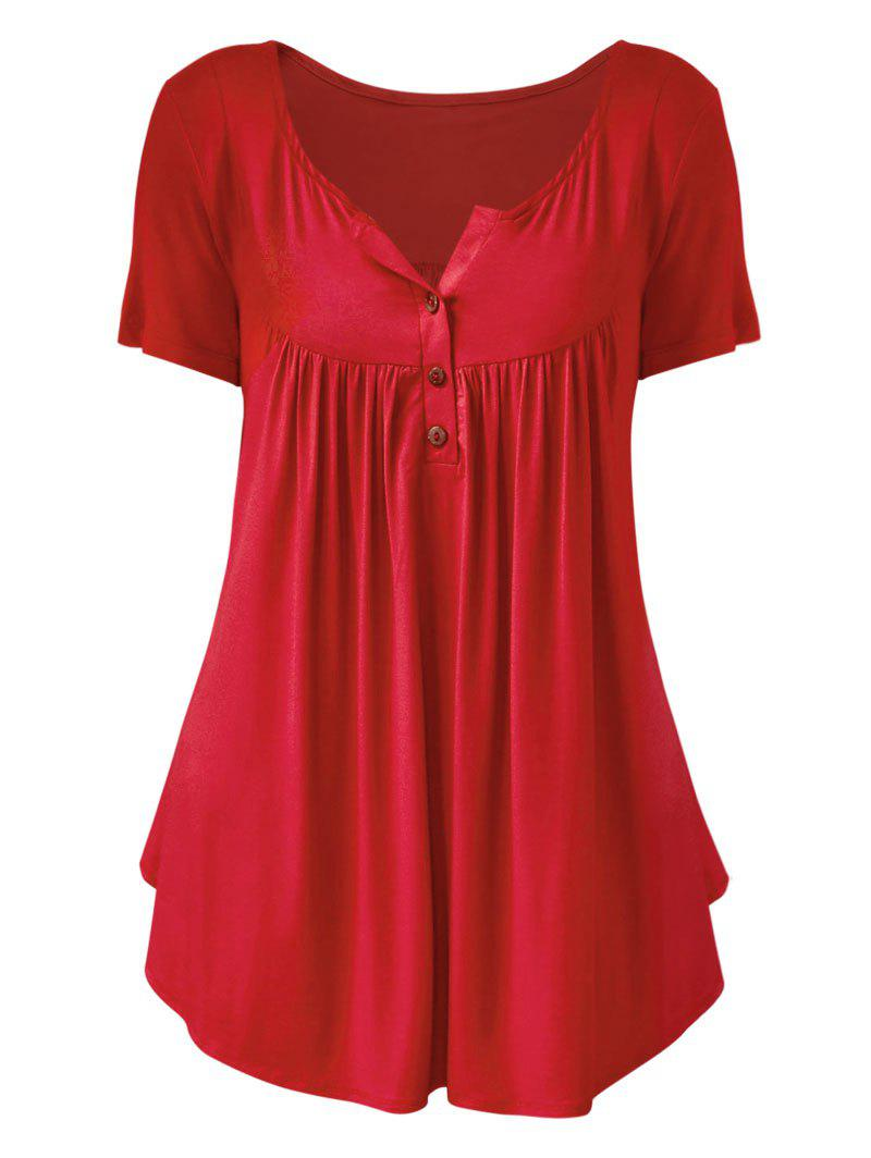 Plus Size Solid Color Ruched Half Button T Shirt - RED 5X