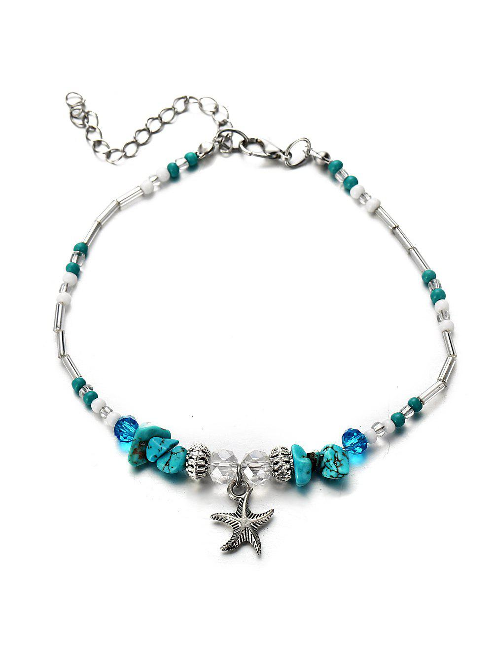 Turquoise Starfish Beaded Pendant Anklet - SILVER