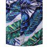 Tropical Leaf Print Button Up Short Sleeve Shirt - multicolor 3XL