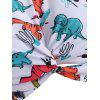 Twist Cutout Dinosaur Print Tankini Swimsuit - multicolor M