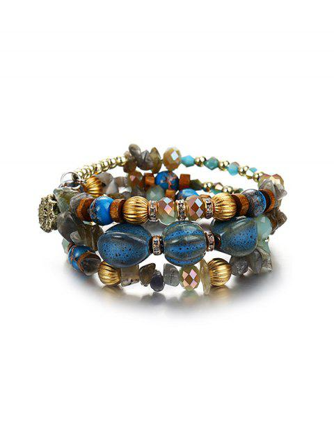 Stone Beaded Floral Layers Wrap Bracelet - LIGHT SKY BLUE
