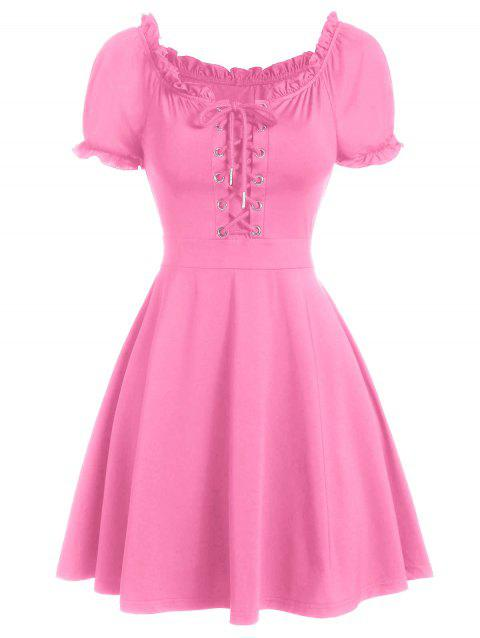 Ruffle Lace-up Mini Milkmaid Dress - PINK 3XL