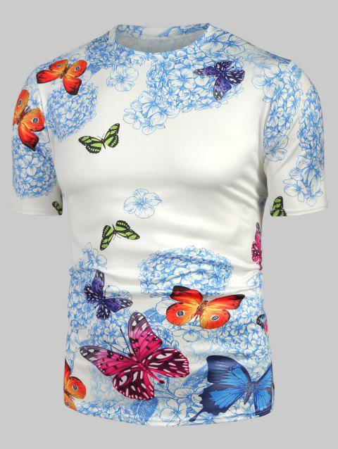 Floral Butterfly Print Short Sleeve T Shirt - WHITE 3XL