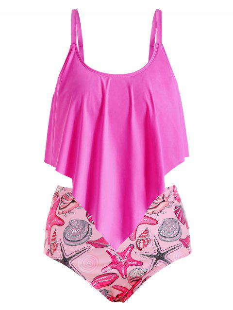 Plus Size Shell Starfish Print Flounce Tankini Swimsuit - ROSE RED 5X