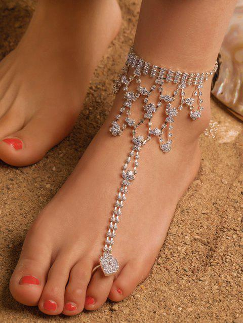 Full Rhinestone Toe Ring Chain Anklet - SILVER
