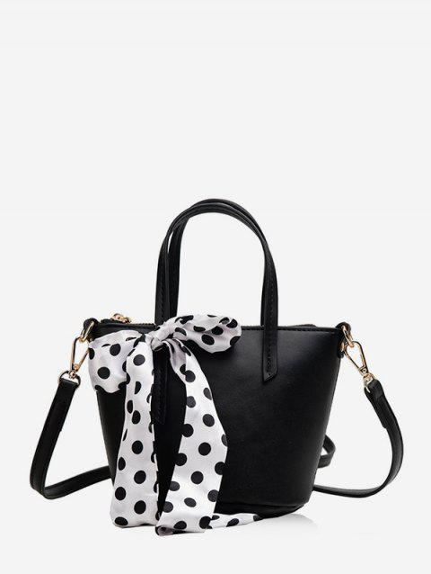 Polka Dot Bowknot Design Crossbody Shoulder Bag - BLACK