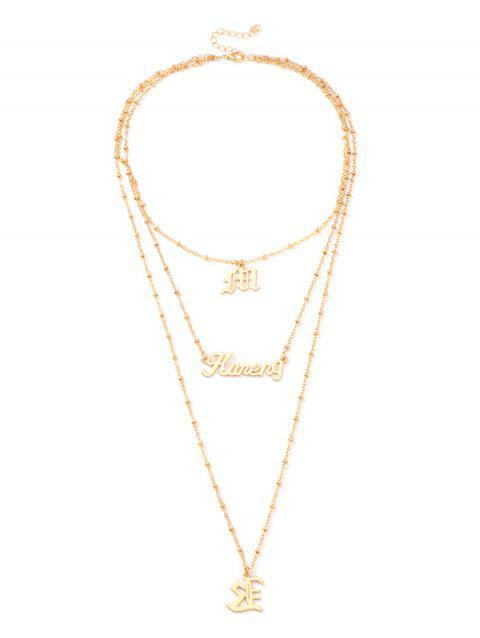 Alloy Letter Pendant Layered Necklace - GOLD