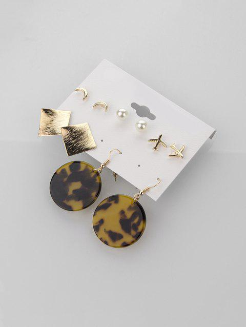 Artificial Pearl Airplane Leopard Print Earring Set - GOLD