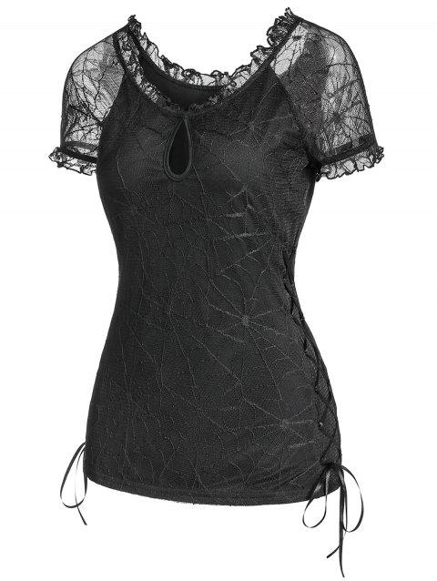 Spider Wed Lace-up Keyhole See Through Tee - BLACK 2XL