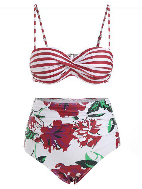 Twisted Striped Floral Ruched Bikini Swimsuit - RED WINE 3XL