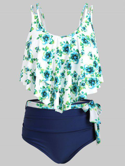 Floral Print Layered Belted Tankini Swimsuit - NAVY BLUE 3XL