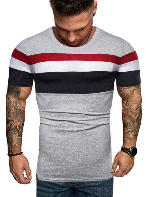 Contrast Striped Patch Casual T Shirt - LIGHT GRAY 2XL