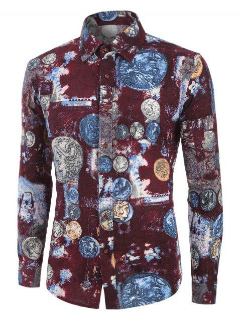 Coin Pattern Long Sleeves Shirt - multicolor 2XL
