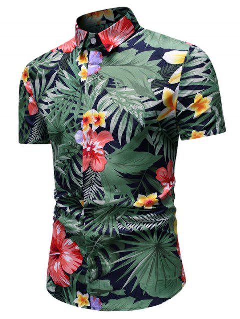 Tropical Flower and Leaves Print Button Up Shirt - multicolor 3XL