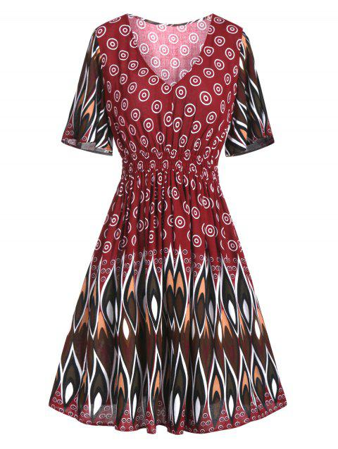 High Waisted Ruched Print A Line Dress - RED WINE 2XL
