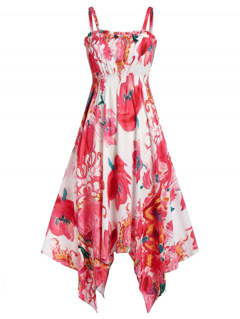 Spaghetti Strap Flower Print Handkerchief Dress - RED 2XL