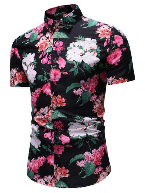 Flower with Leaf Print Button Down Shirt - multicolor 3XL