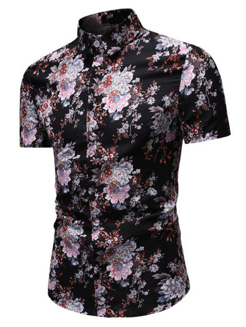 Tiny Floral Print Button Down Casual Shirt - BLACK 3XL