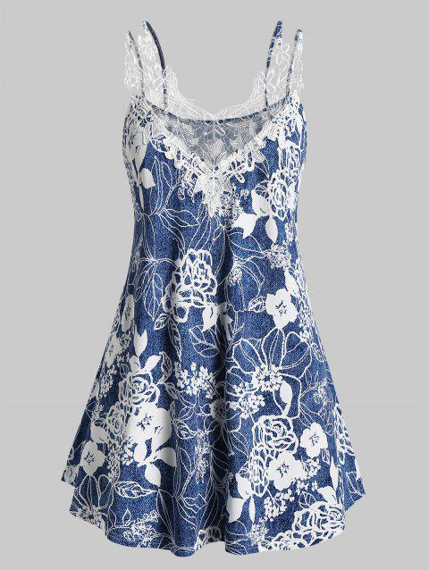Plus Size Lace Insert Floral Print Strappy Tank Top - SILK BLUE L