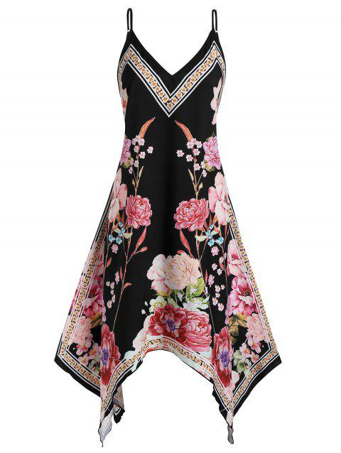 Plus Size Spaghetti Strap Flowers Print Handkerchief Dress - BLACK 1X
