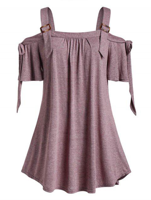 Plus Size Open Shoulder Marled Square Neck T Shirt - CHERRY RED 4X